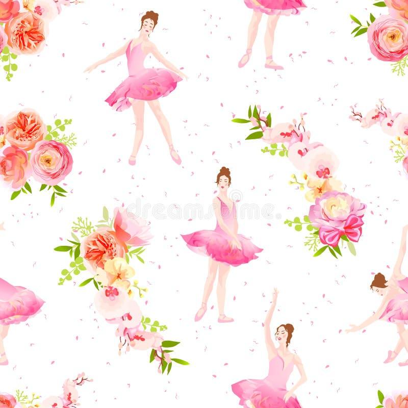 As bailarinas bonitas dançam e saltam as festões v sem emenda da flor ilustração stock