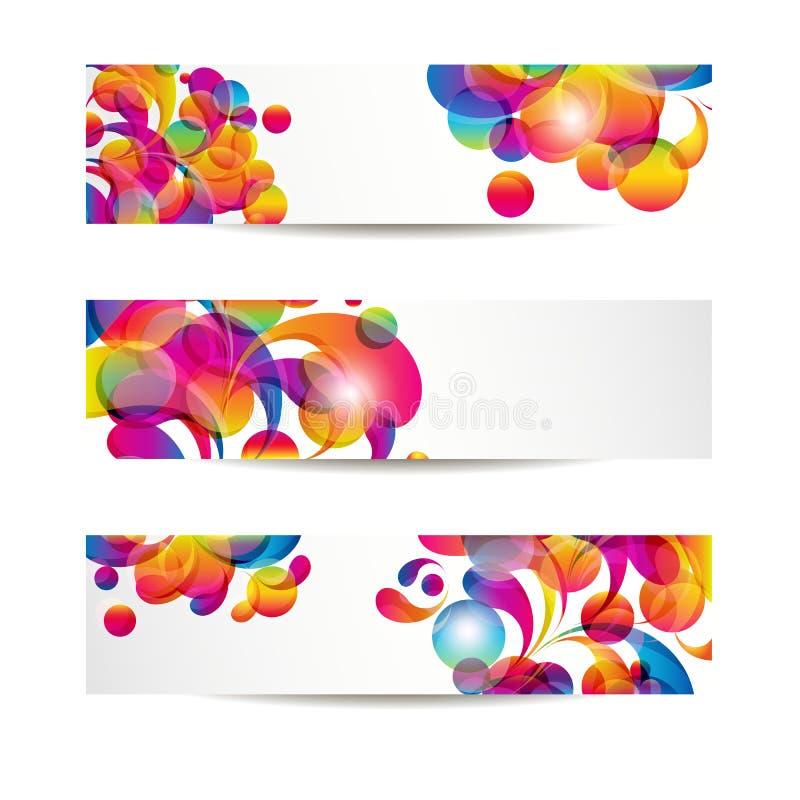 As bandeiras abstratas da Web com arco-gota colorida para seu WWW projetam ilustração stock