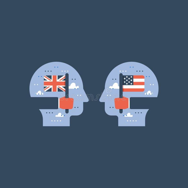 As bandeiras americanas e britânicas, aprendem o inglês, programa educativo, troca internacional do estudante ilustração royalty free
