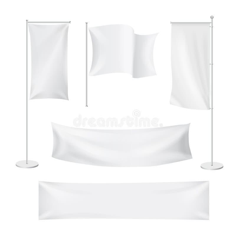 As bandeiras brancas e as bandeiras de matéria têxtil dobram o grupo do molde Anunciando a bandeira vazia, ilustração royalty free