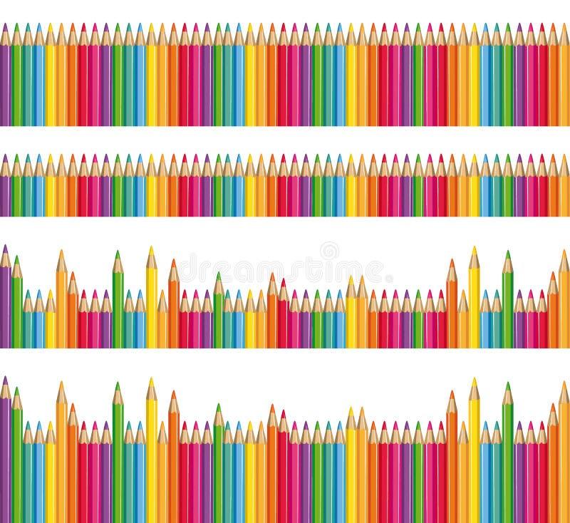 As bandeiras coloridas dos lápis ajustaram-se isolado no fundo branco ilustração do vetor