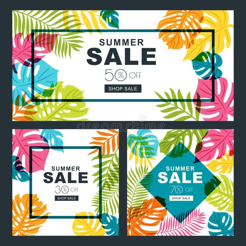 As bandeiras da venda do verão ajustaram-se com as folhas multicoloridos da palmeira Fundo tropical ilustração royalty free