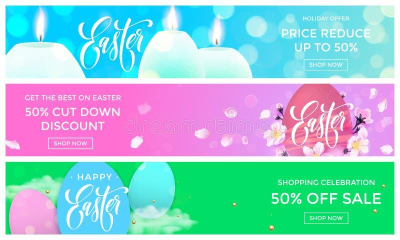 As bandeiras da Web da venda da Páscoa vector moldes para a loja em linha ilustração do vetor