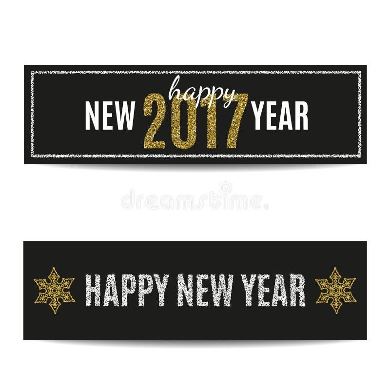 As bandeiras do ano novo feliz 2017 prateiam o texto e flocos de neve dourados ilustração stock