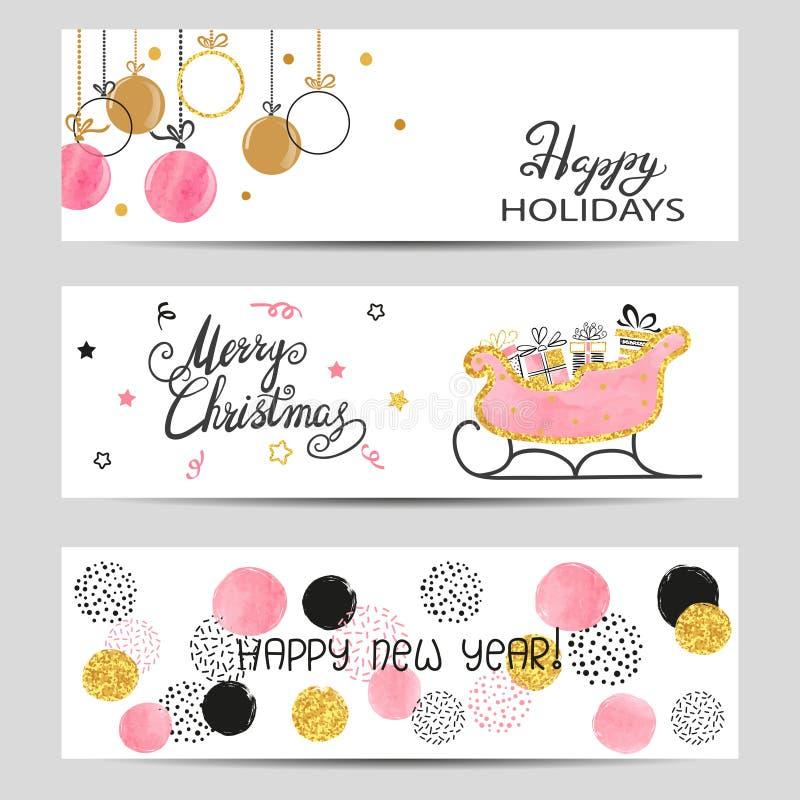 As bandeiras do cumprimento do Feliz Natal e do ano novo feliz ajustaram-se em cores cor-de-rosa, douradas e pretas ilustração royalty free