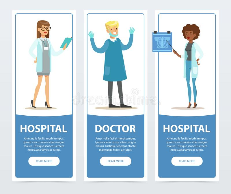 As bandeiras do doutor e do hospital ajustaram-se, elemento liso do vetor do pessoal médico para o Web site ou app móvel ilustração stock