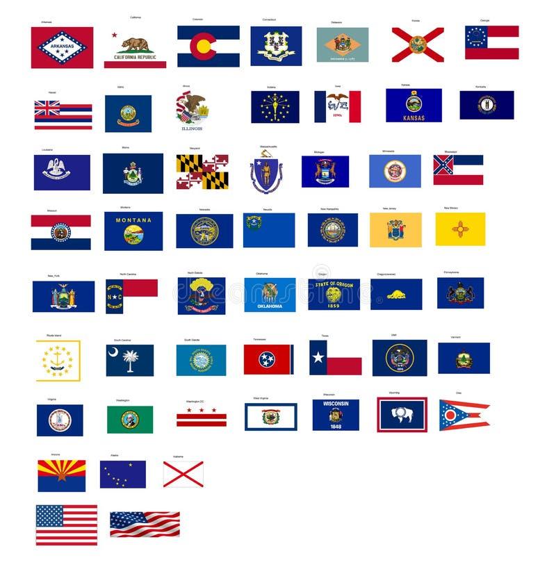 As bandeiras dos estados de EUA com vetor formatam ilustração do vetor