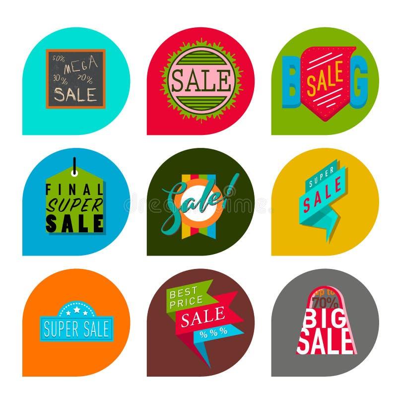 As bandeiras extra do bônus da venda super text na ilustração tirada cor do vetor da promoção do Internet da compra do negócio da ilustração stock