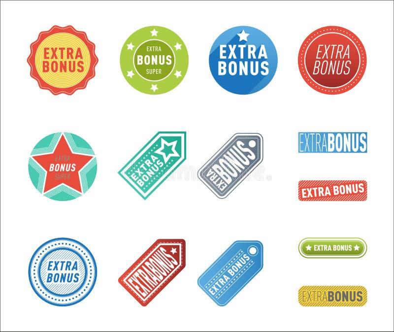 As bandeiras extra super do bônus text em etiquetas tiradas cor, compra da promoção do Internet do vetor do conceito da compra do ilustração stock
