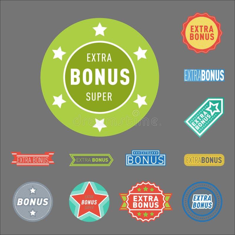 As bandeiras extra super do bônus text em etiquetas tiradas cor, compra da promoção do Internet do vetor do conceito da compra do ilustração do vetor