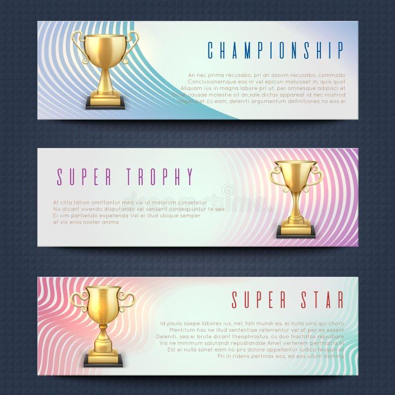 As bandeiras horizontais com o troféu dourado dos esportes colocam a coleção do vetor ilustração do vetor