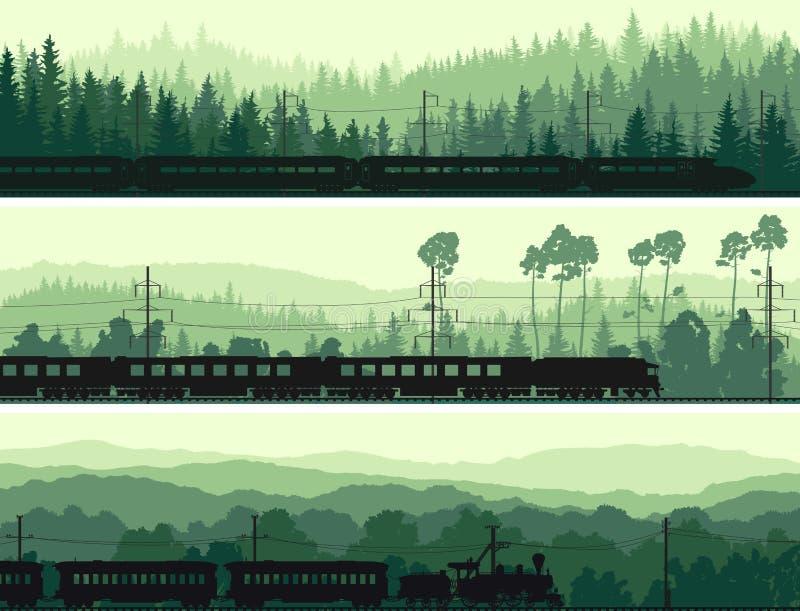 As bandeiras horizontais da locomotiva, do trem e dos montes coníferos cortejam ilustração stock