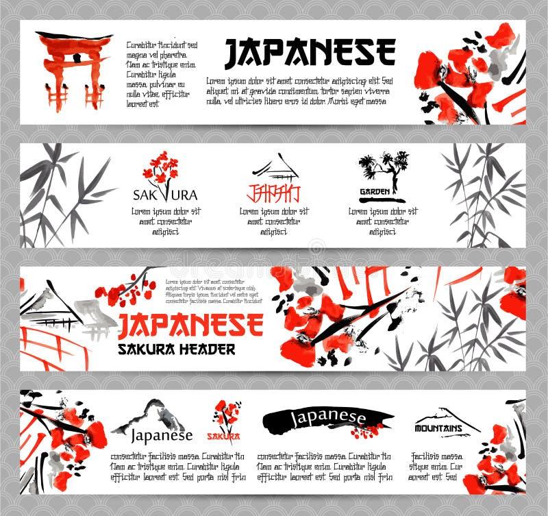 As bandeiras horizontais do Web site ajustaram-se com paisagens de Ásia, construções e ramo de florescência de sakura ilustração royalty free