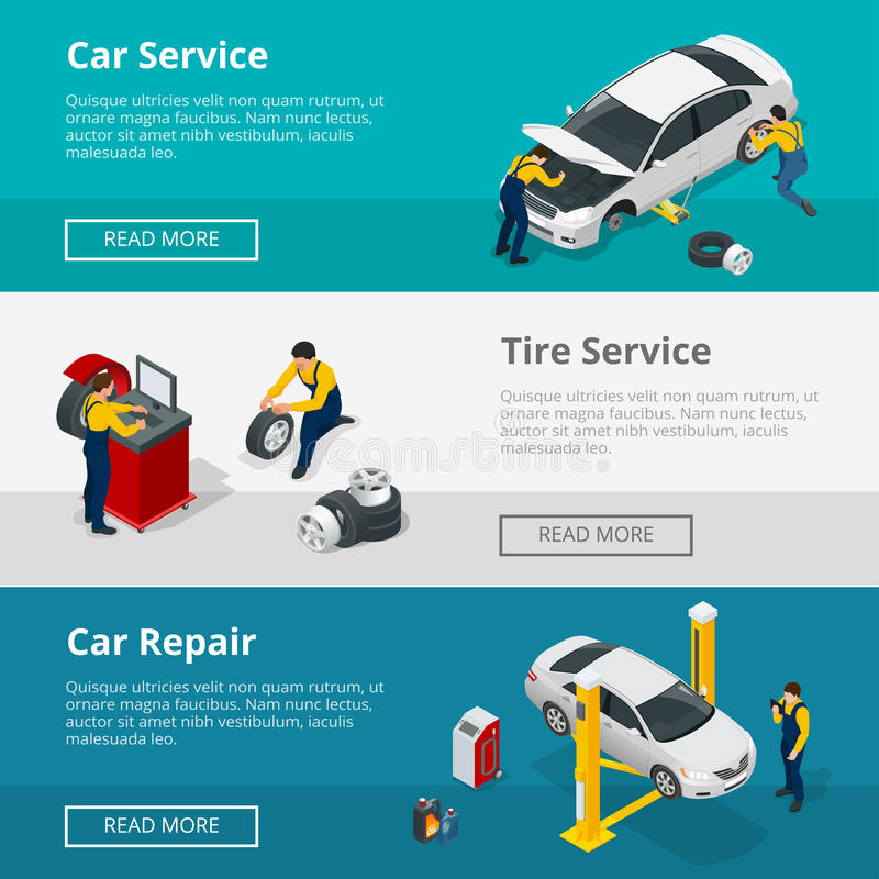 As bandeiras horizontais lisas com os trabalhadores das cenas no centro de serviço de reparações do carro, no serviço do pneu e n ilustração do vetor