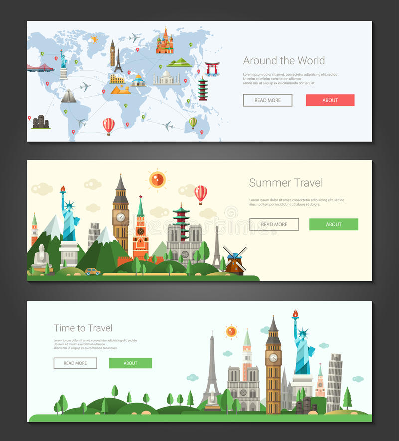 As bandeiras lisas do projeto, encabeçamentos ajustaram a ilustração com marcos mundialmente famosos ilustração stock