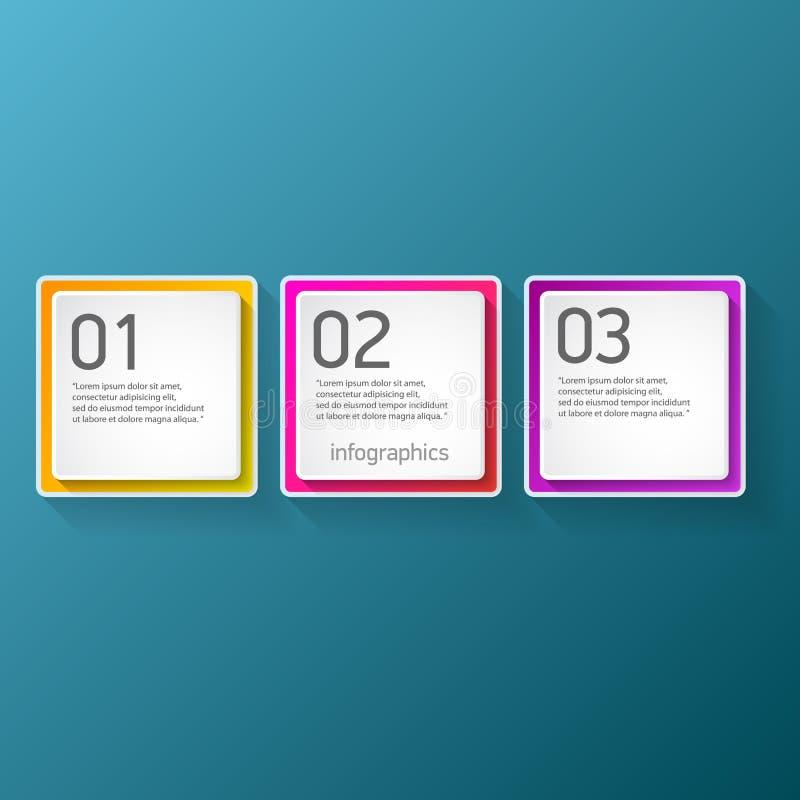 As bandeiras modernas do papel do progresso da cor do vetor ajustadas com três opções ou etapas podem ser usadas para o infograph ilustração stock