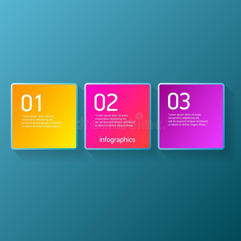 As bandeiras modernas do papel do progresso da cor do vetor ajustadas com três opções ou etapas podem ser usadas para o infograph ilustração do vetor