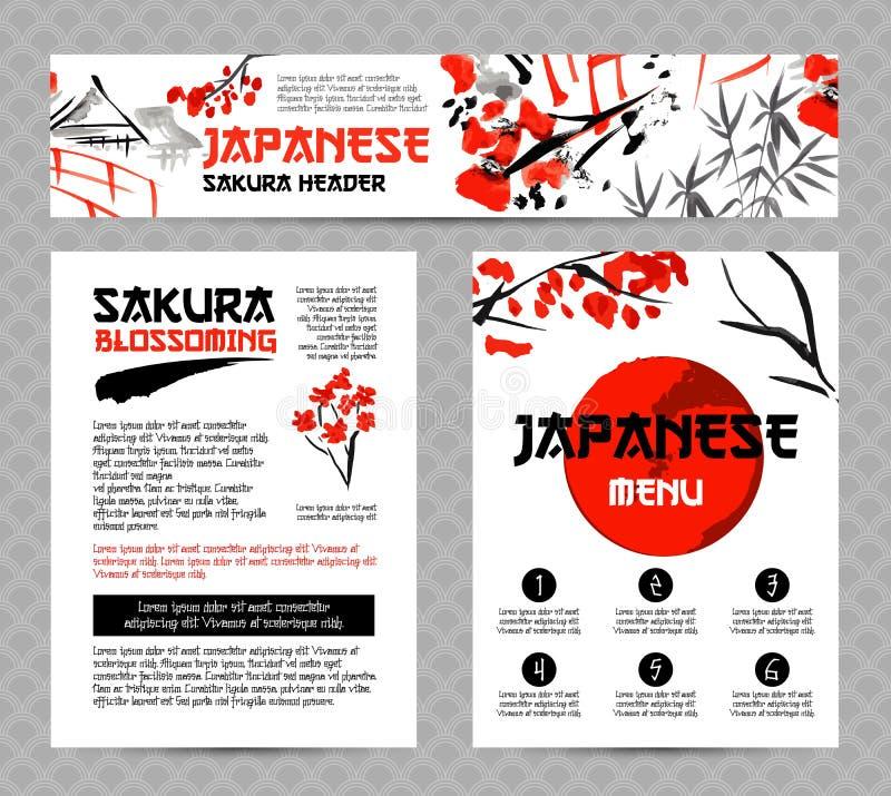 As bandeiras ou os cartazes ajustaram-se com paisagens de Ásia, construções e ramo de florescência de sakura no estilo japonês tr ilustração royalty free
