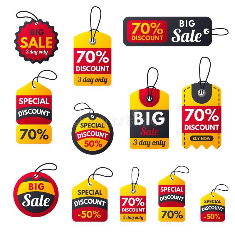 As bandeiras vermelhas do bônus extra super da venda text a etiqueta ilustração royalty free