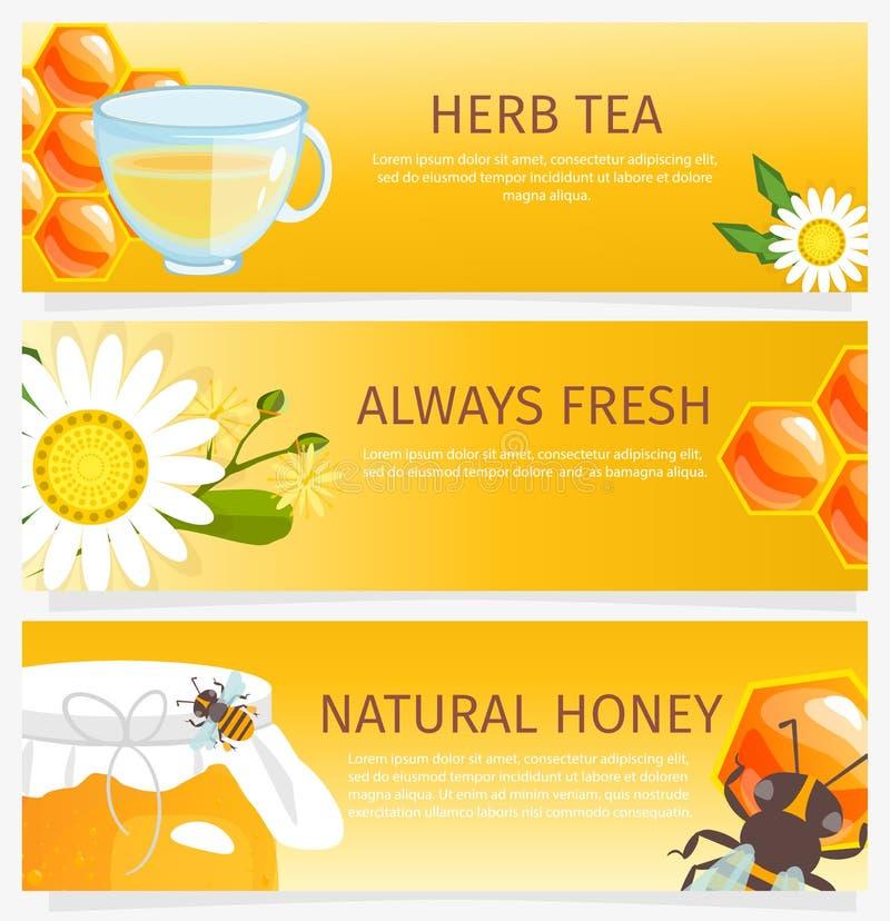 As bandeiras verticais do mel e quadradas horizontais que apresentam o mel natural doce com abelhas acumulam e enceram o vetor da ilustração royalty free