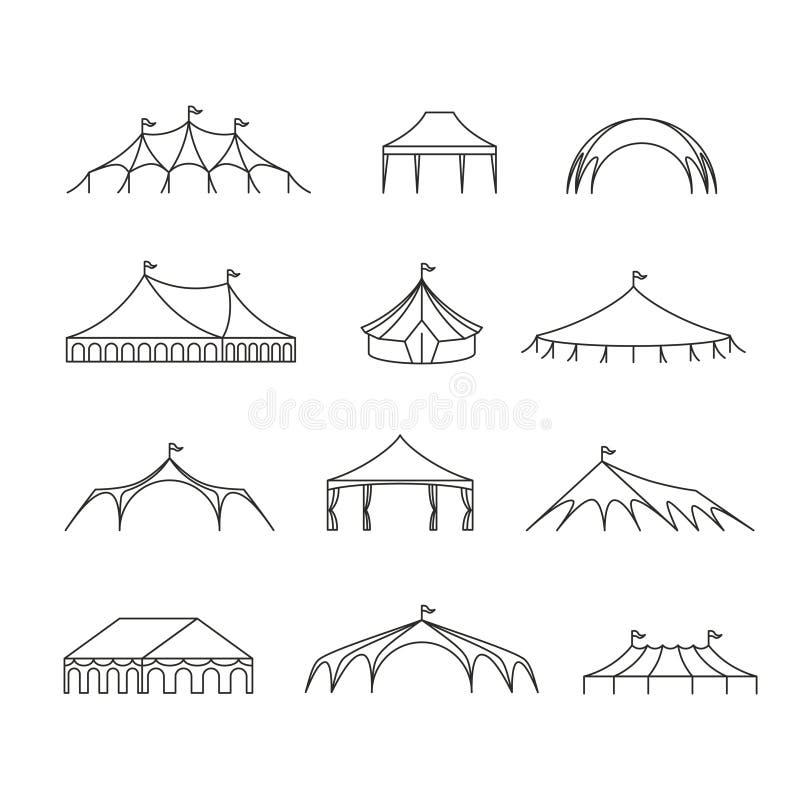 As barracas exteriores do famoso do evento e do casamento vector a linha ícones ilustração stock