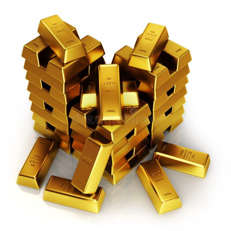As barras de ouro 3d rendem ilustração stock