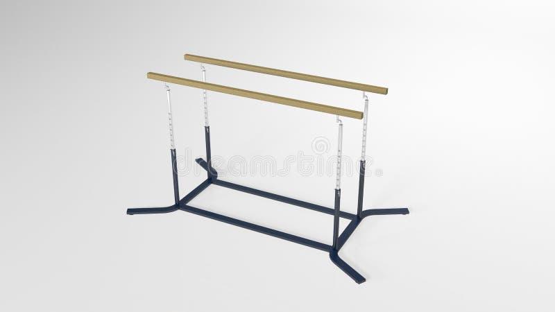 As barras paralelas da ginástica, material desportivo isolado no fundo branco, 3D rendem ilustração stock