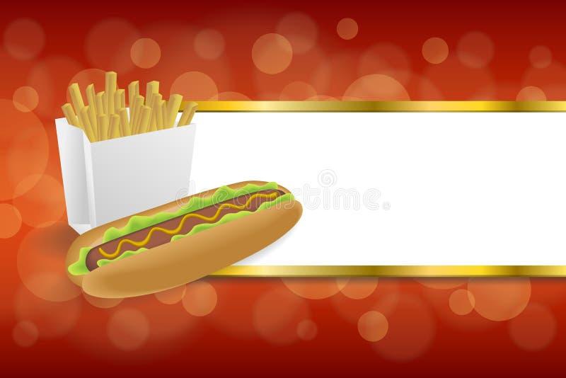 As batatas fritas brancas do cachorro quente abstrato do fundo encaixotam a ilustração vermelha do quadro do ouro das listras do  ilustração do vetor