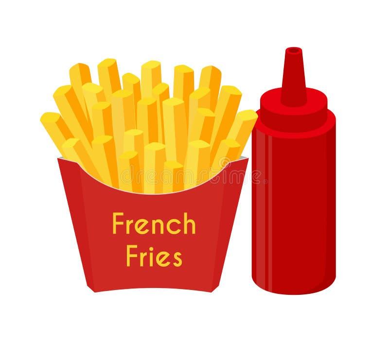As batatas fritas, ketchup, fritaram a batata Estilo liso dos desenhos animados Ilustração do vetor ilustração stock