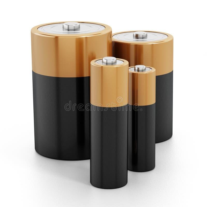 As baterias empilham isolado no fundo branco imagem de stock royalty free