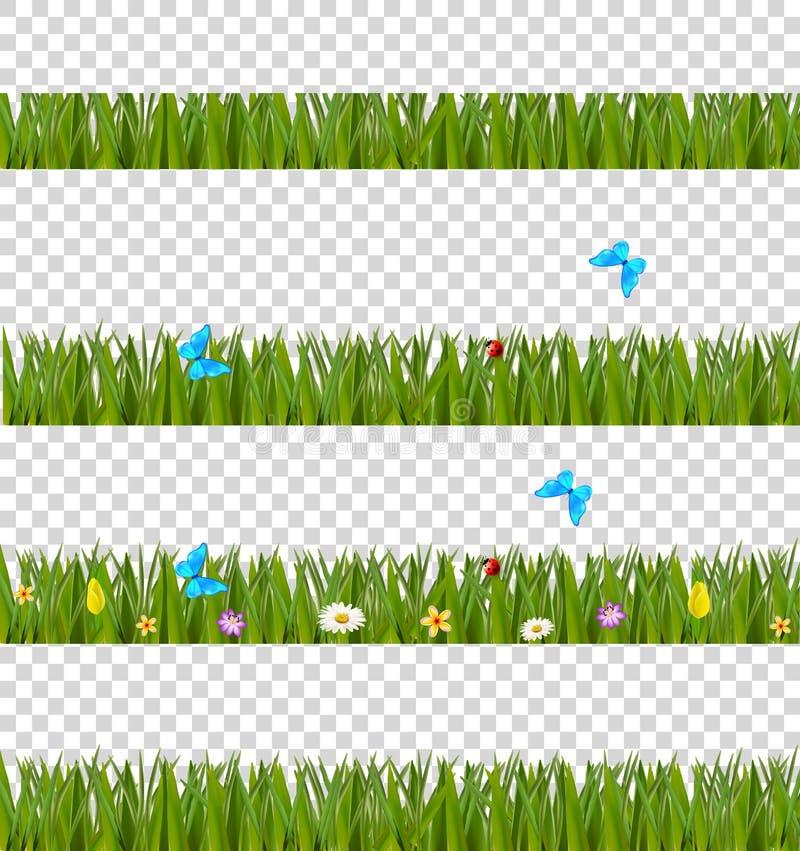 As beiras realísticas verdes da grama ajustaram-se com flores coloridas e extremidade ilustração royalty free