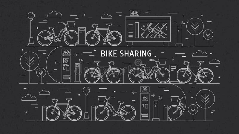 As bicicletas alugado estacionaram em estações de ancoragem na rua da cidade Conceito da partilha ou do aluguel público da bicicl ilustração royalty free
