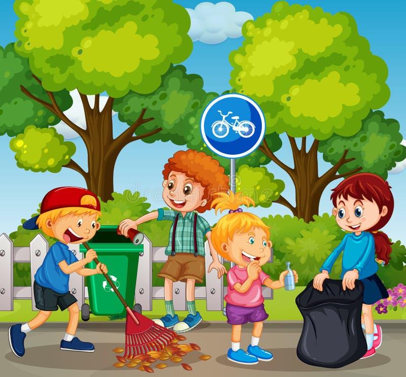 As boas crianças estão limpando o parque ilustração royalty free