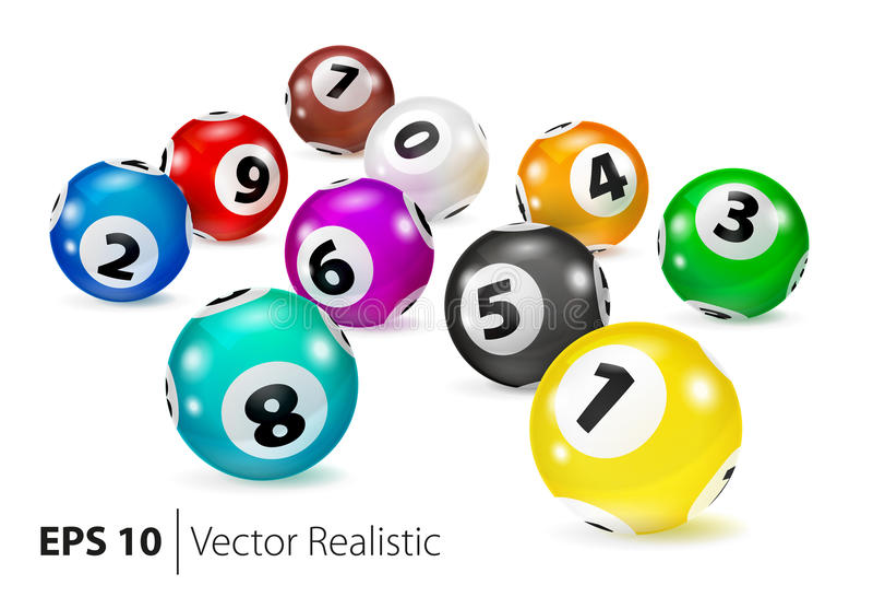 As bolas coloridas do Bingo do vetor encontram-se na ordem aleatória ilustração royalty free