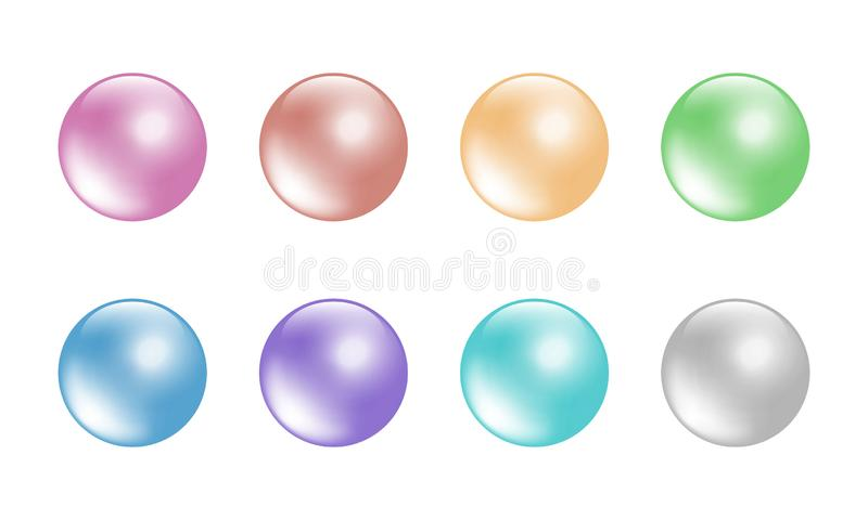 As bolas da cor pastel ajustaram-se isolado nas cores brancas do fundo 8 ilustração stock