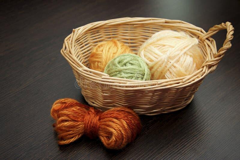 As bolas de linhas de lã fotografia de stock