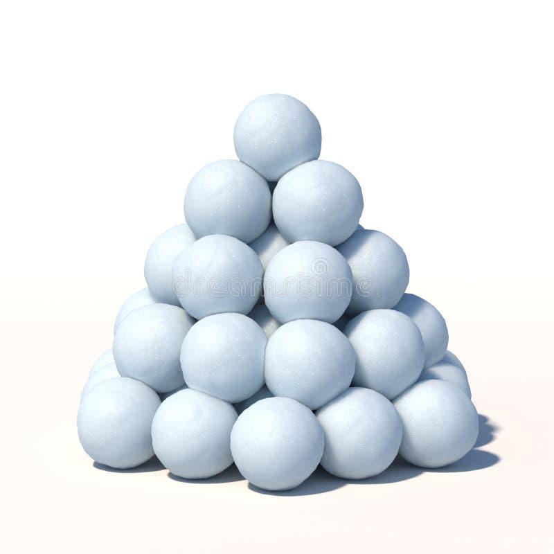 As bolas de neve empilham isolado na rendição branca do fundo 3d ilustração royalty free