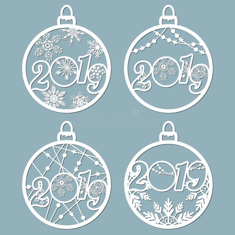 2019 As bolas do Natal ajustaram-se com um floco de neve cortado do papel Moldes para o corte do laser, o corte do plotador ou im ilustração stock