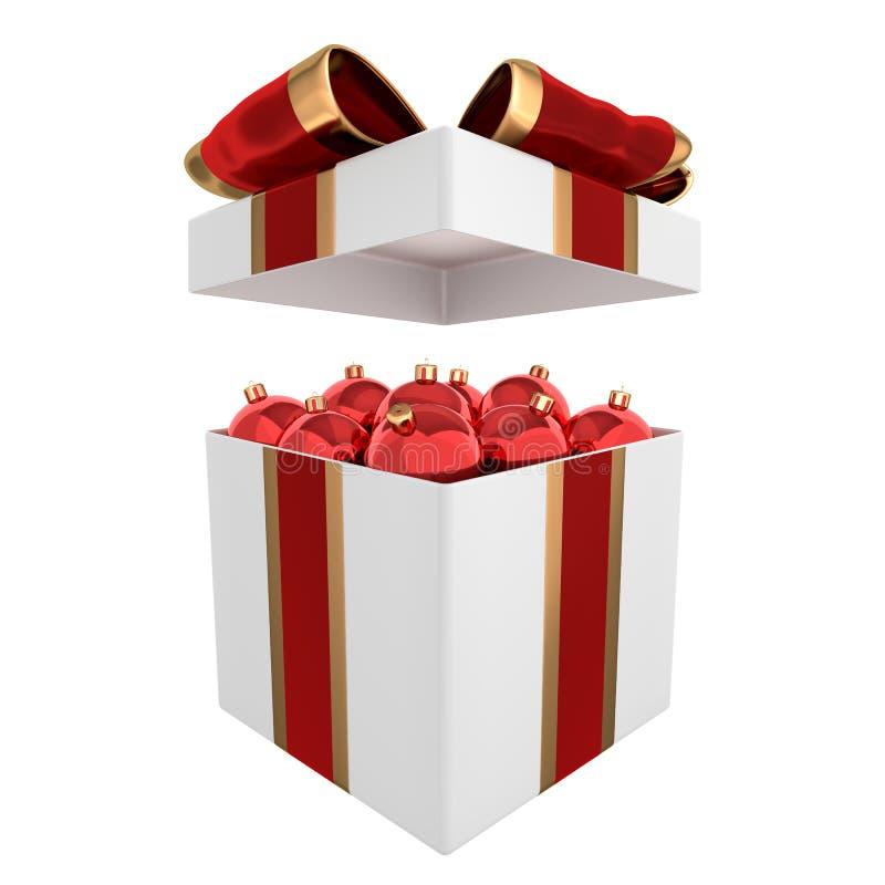 As bolas do Natal na caixa 3D rendem ilustração do vetor