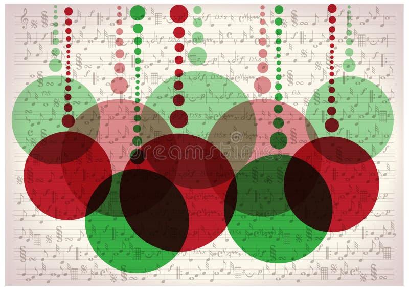 As bolas do Natal na música do vintage notam o fundo ilustração royalty free