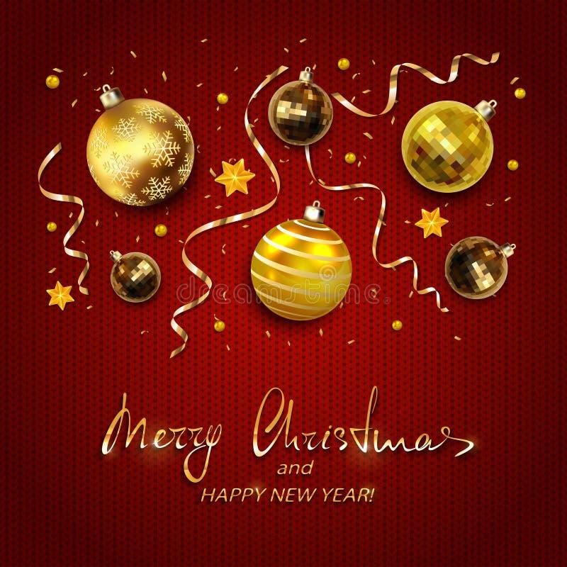 As bolas do Natal do ouro com as flâmulas no vermelho fizeram malha o fundo ilustração do vetor