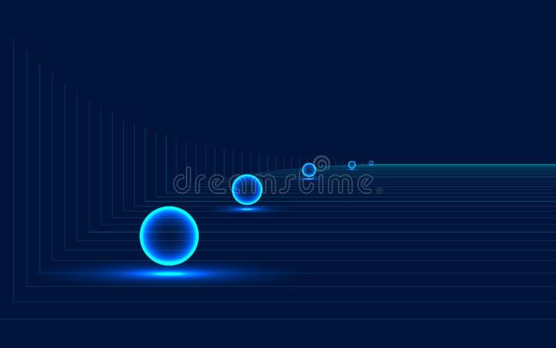 As bolas luminosas no fundo das linhas de n?on s?o um bom fundo para anunciar ilustração royalty free