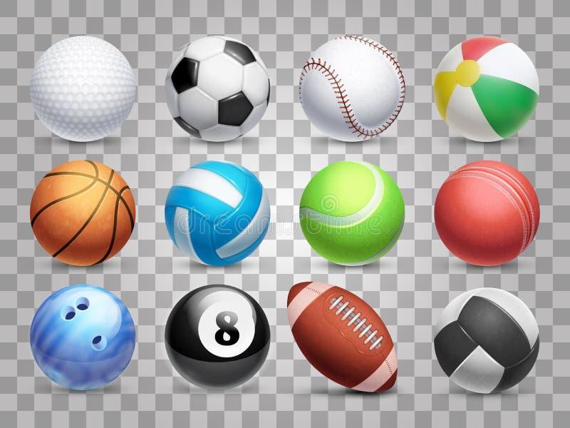 As bolas realísticas dos esportes vector o grupo grande isolado no fundo transparente ilustração royalty free