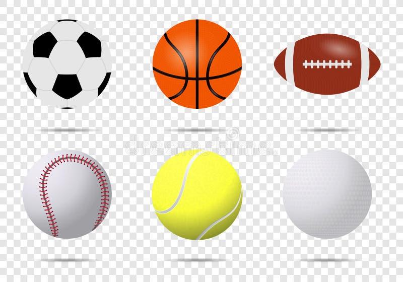 As bolas real?sticas dos esportes vector o grupo grande isolado no fundo transparente Ilustração do golfe e do basebol, futebol ilustração do vetor