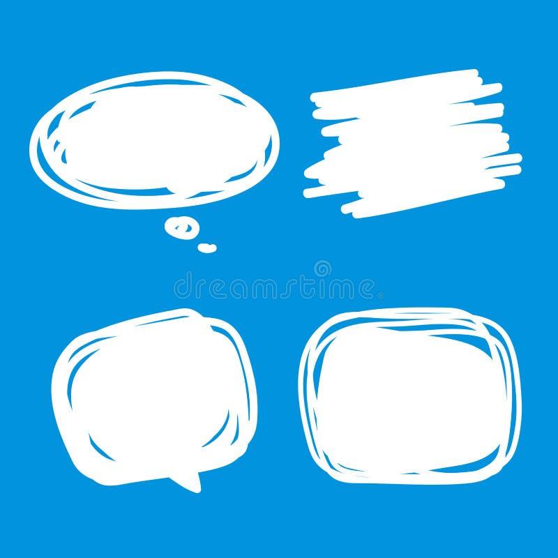 As bolhas brancas vazias grupo do discurso da placa, coleção de bolhas cômicas do discurso rabiscam ou o diálogo da etiqueta, ilustração stock