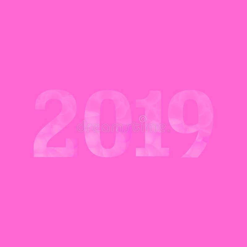 As bolhas cor-de-rosa Textured 2019 ilustração stock