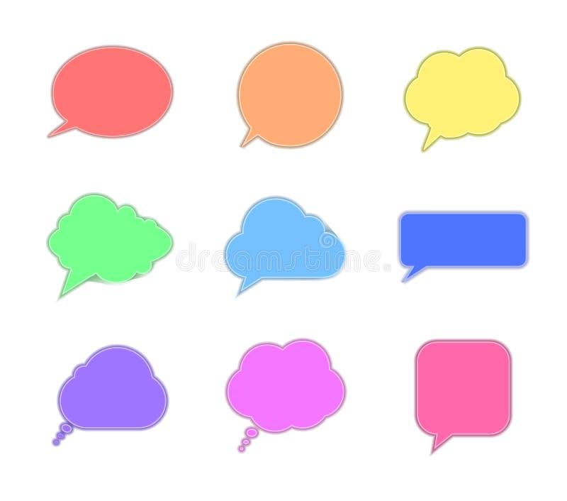 As bolhas da conversa das cores do arco-íris do vetor, papel Art Style, diferente pensam os quadros da nuvem isolados ilustração royalty free