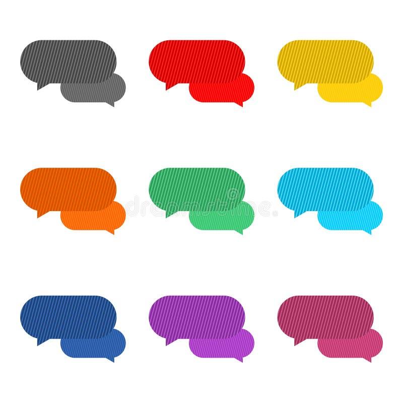 As bolhas da mensagem, conversam o ícone, logotipo do diálogo, grupo de cor ilustração stock