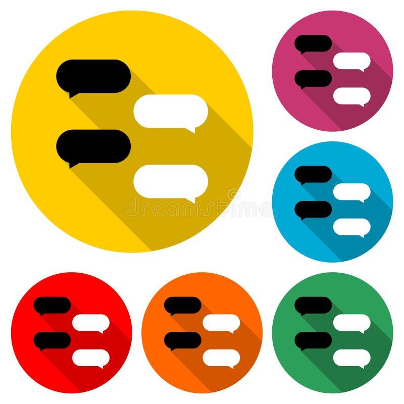 As bolhas da mensagem, conversam o ícone, logotipo do diálogo, grupo de cor com sombra longa ilustração do vetor