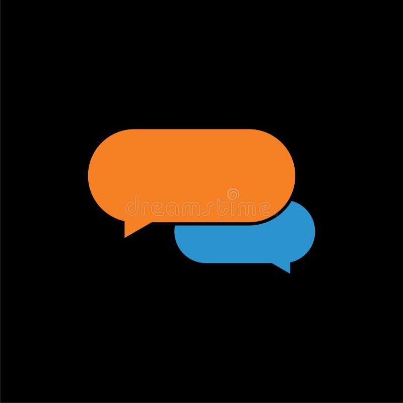 As bolhas da mensagem, conversam o ícone, logotipo do diálogo no fundo escuro ilustração royalty free